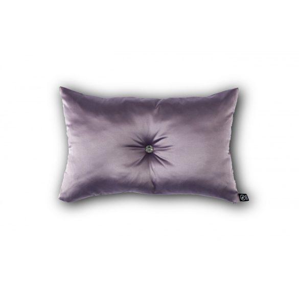 Mályva színű kristálygombbal díszített párna 30x50