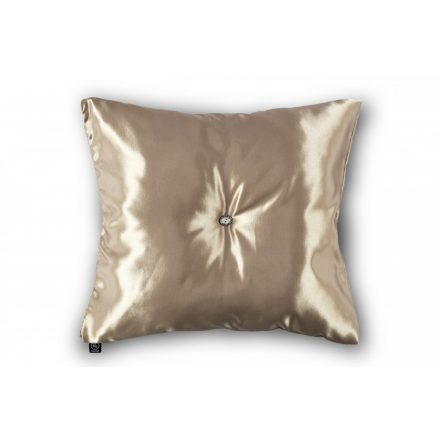 Pezsgő színű kristálygombbal díszített párna 50x50