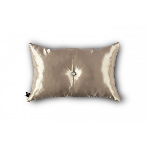 Pezsgő színű kristálygombbal díszített párna 30x50